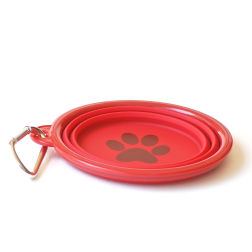Red pop up dog bowl