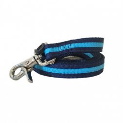 navy blue striped dog lead